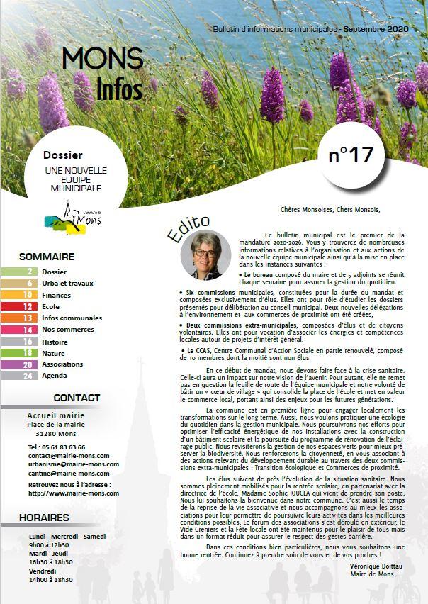 Mons infos N°17 – Septembre 2020