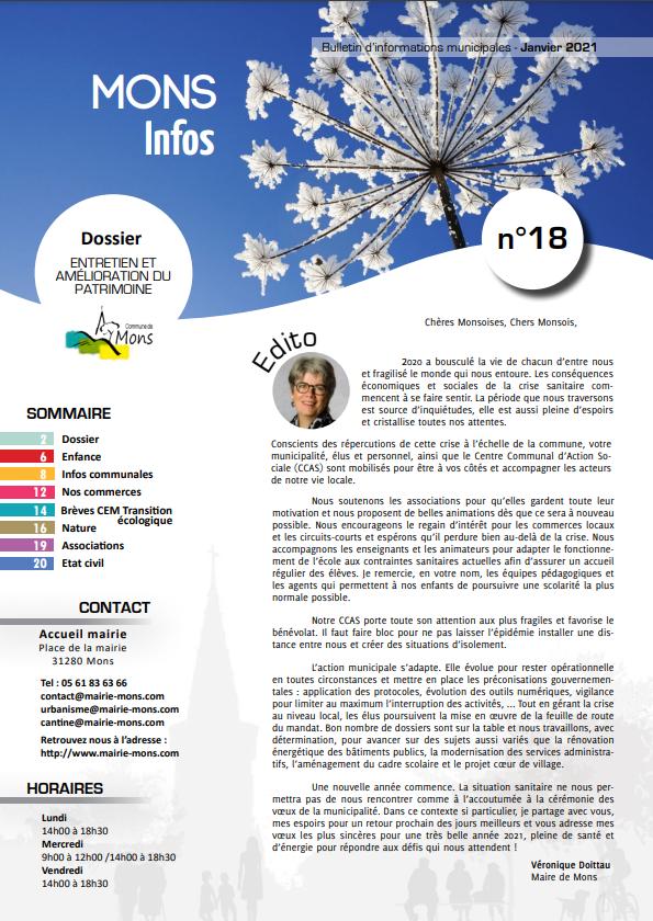 Mons infos N°18 – Janvier 2021